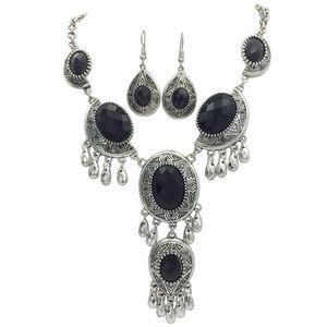 Dramatic Drop Black Necklace Earrings Set